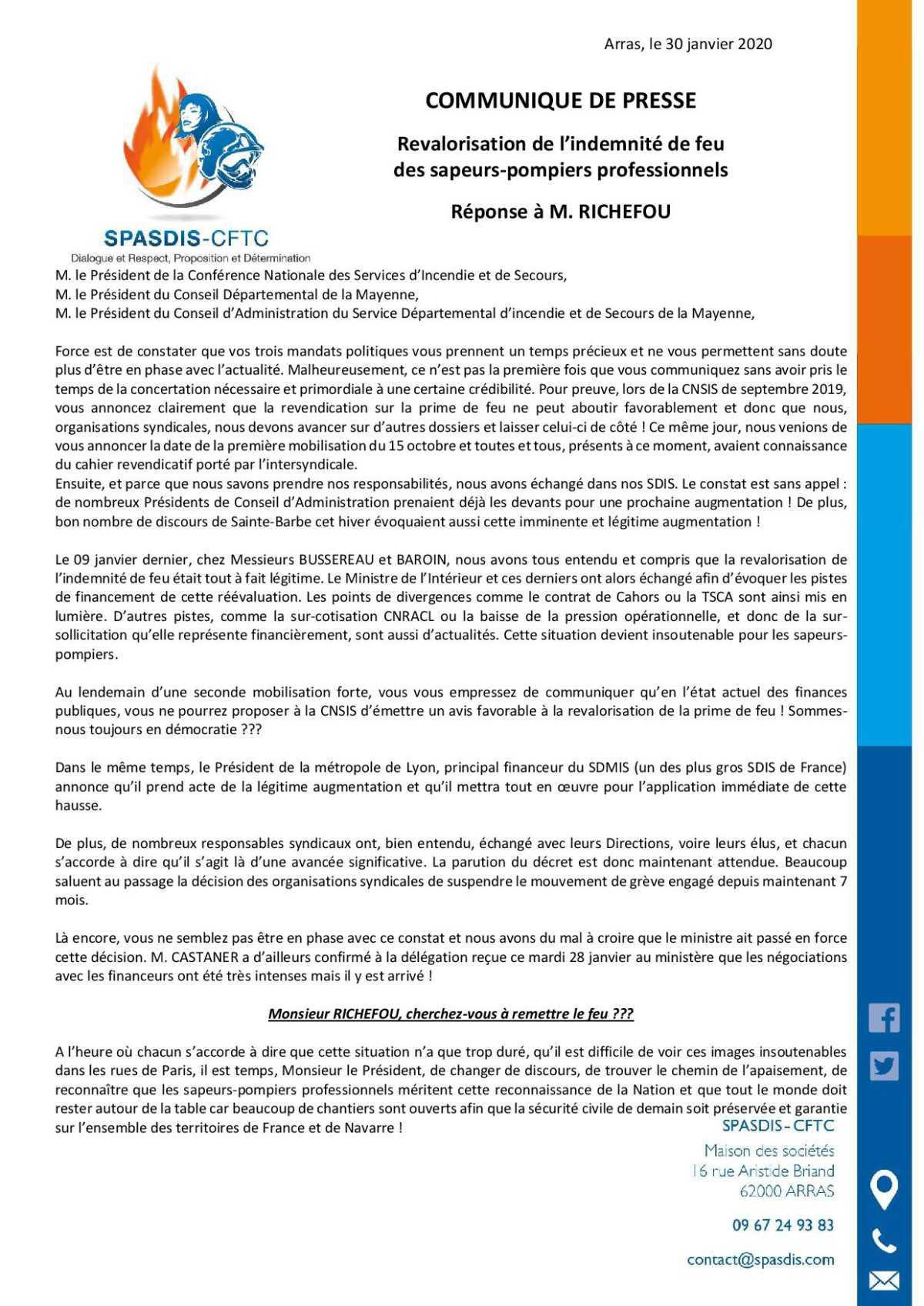 Revalorisation de l'indemnité de feu : communiqué de presse du SPASDIS