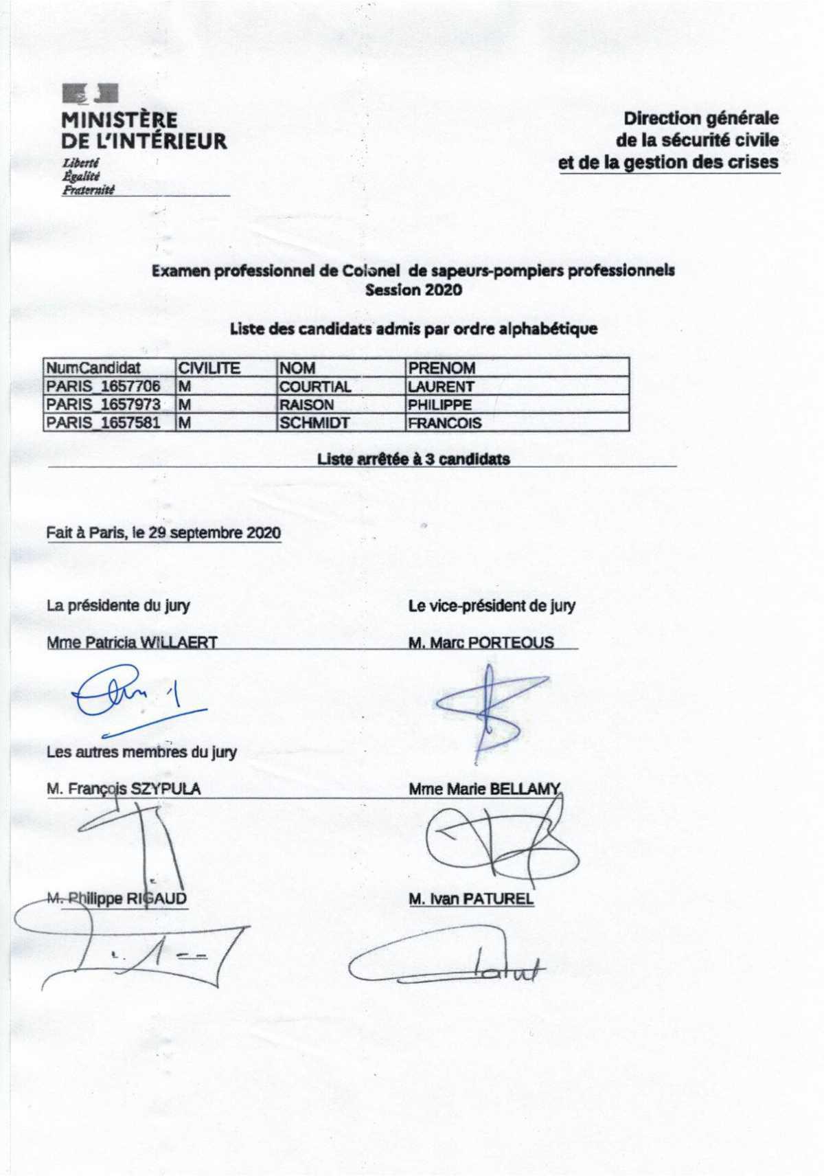 📄👩🚒🚒Liste des candidats admis à l'examen professionnel de colonel SPP