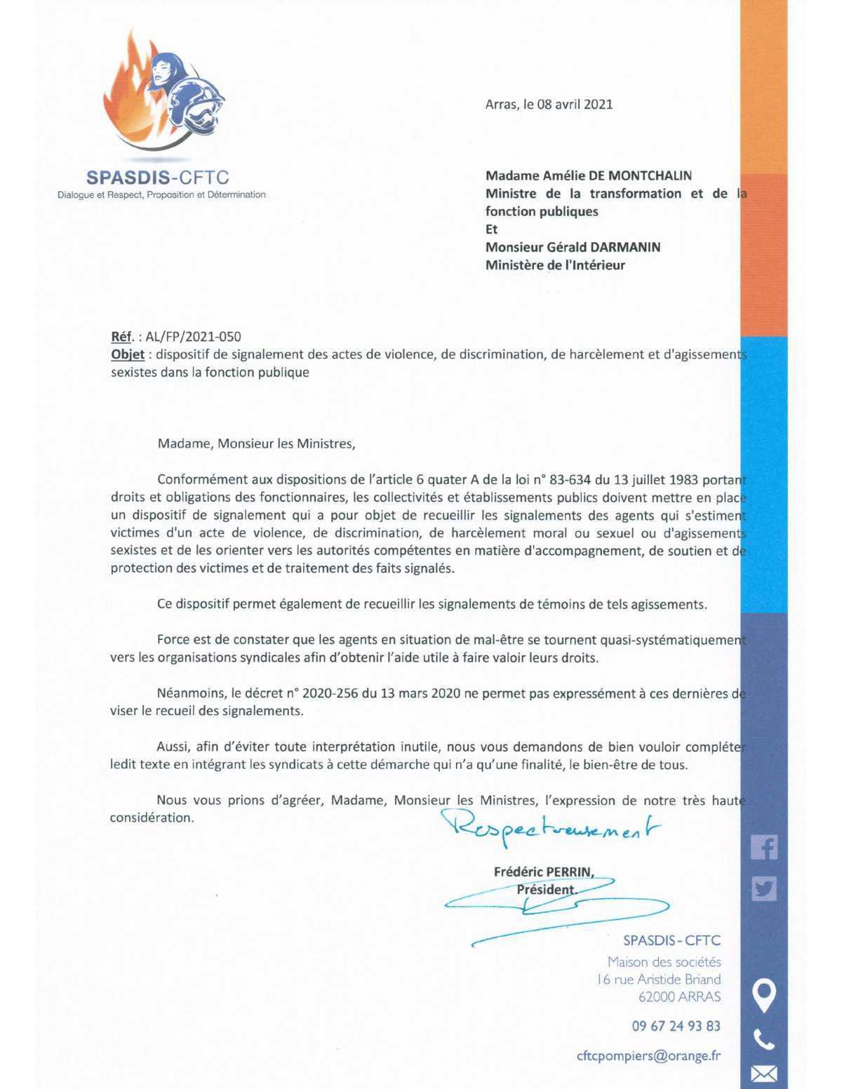 Le SPASDIS sollicite les Ministres de la Fonction Publique et de l'Intérieur