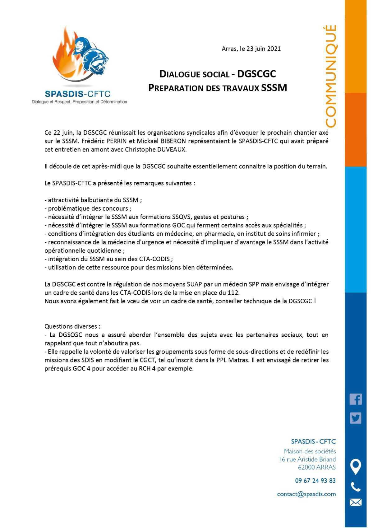 Travaux préparatoires SSSM