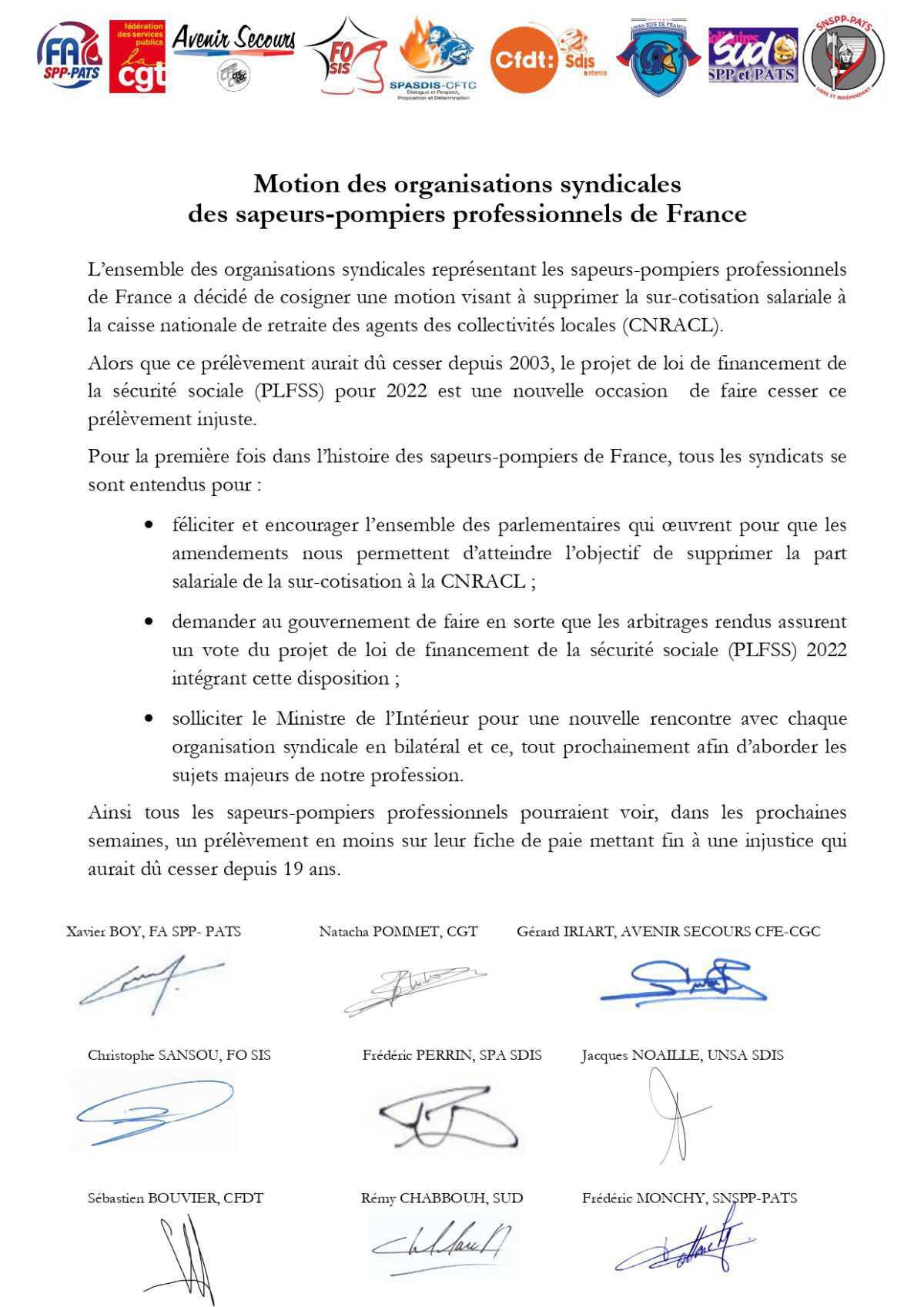 Motion visant à supprimer la surcotisation prime de feu