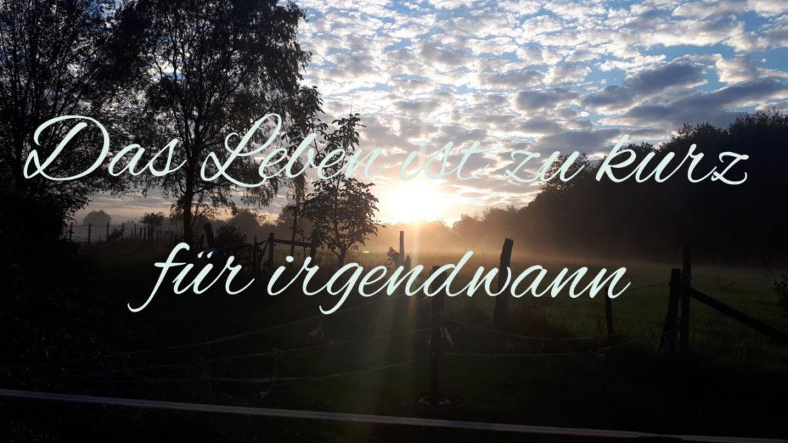 """Quotes #1: """"Das Leben ist zu kurz für irgendwann"""""""