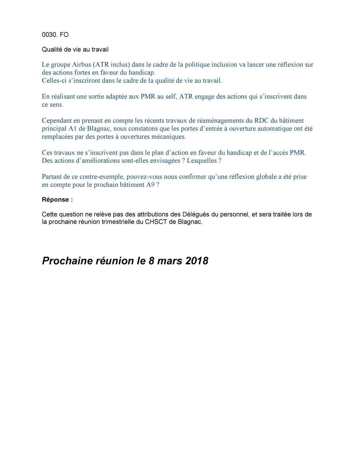 Questions / Réponses DP FO -Février 2018-