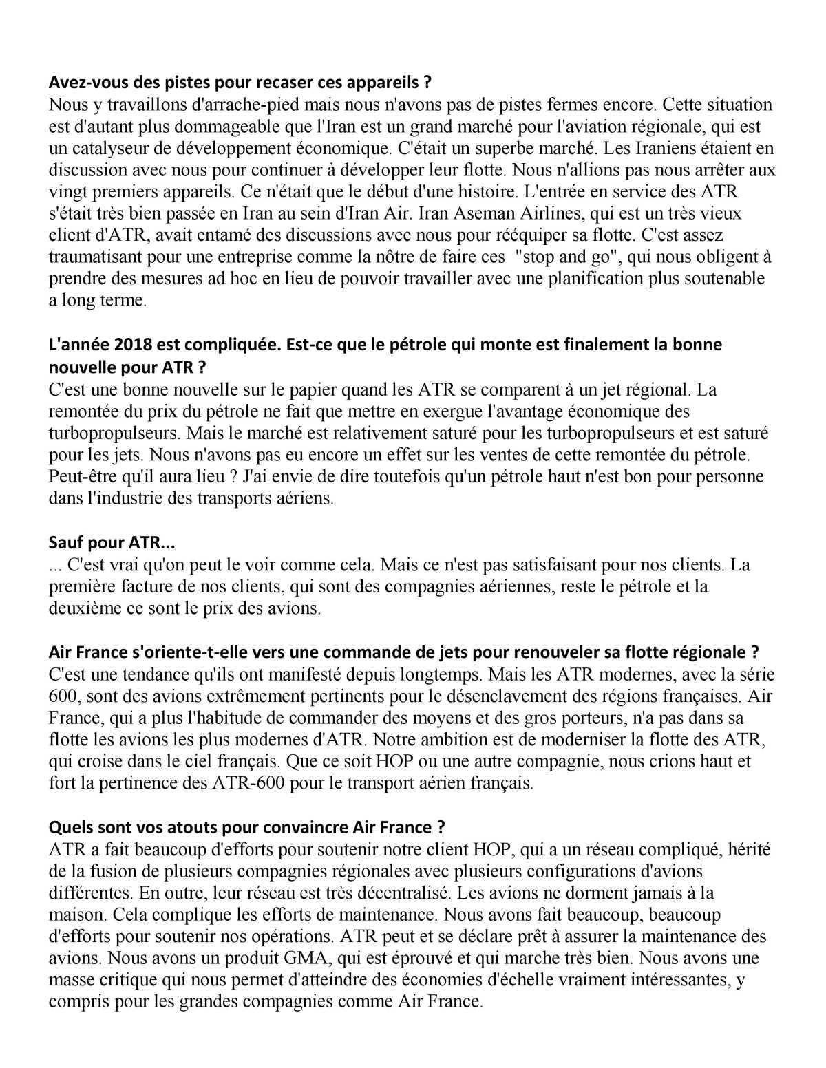 """""""La situation Iranienne a un impact négatif très, très fort sur ATR"""" CEO ATR"""