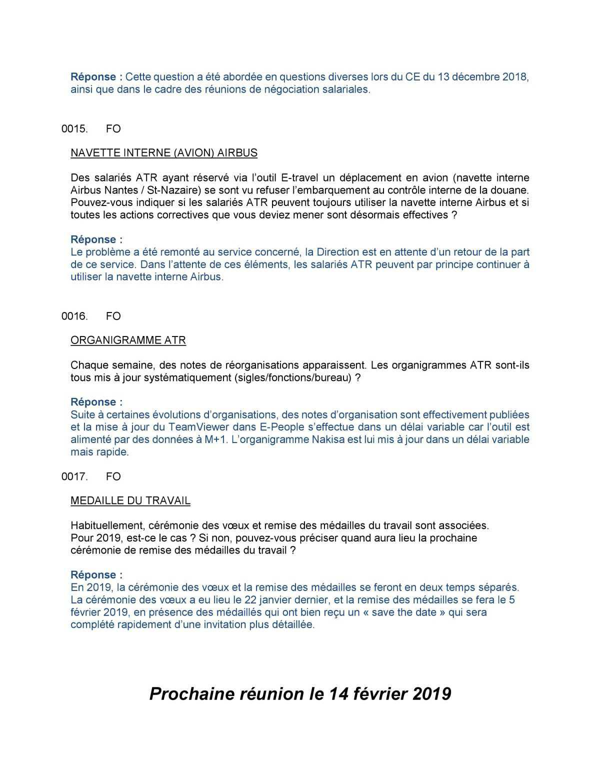 CR Délégués du Personnel Janvier 2019