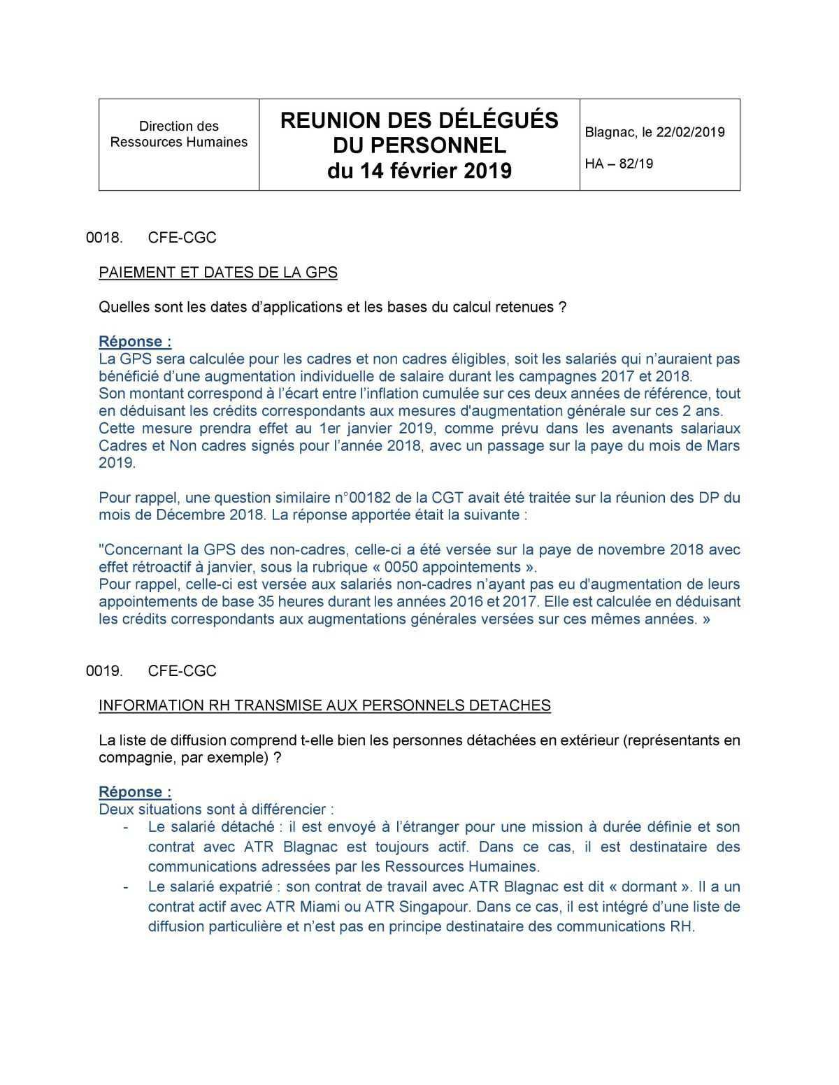 CR Délégués du Personnel février 2019