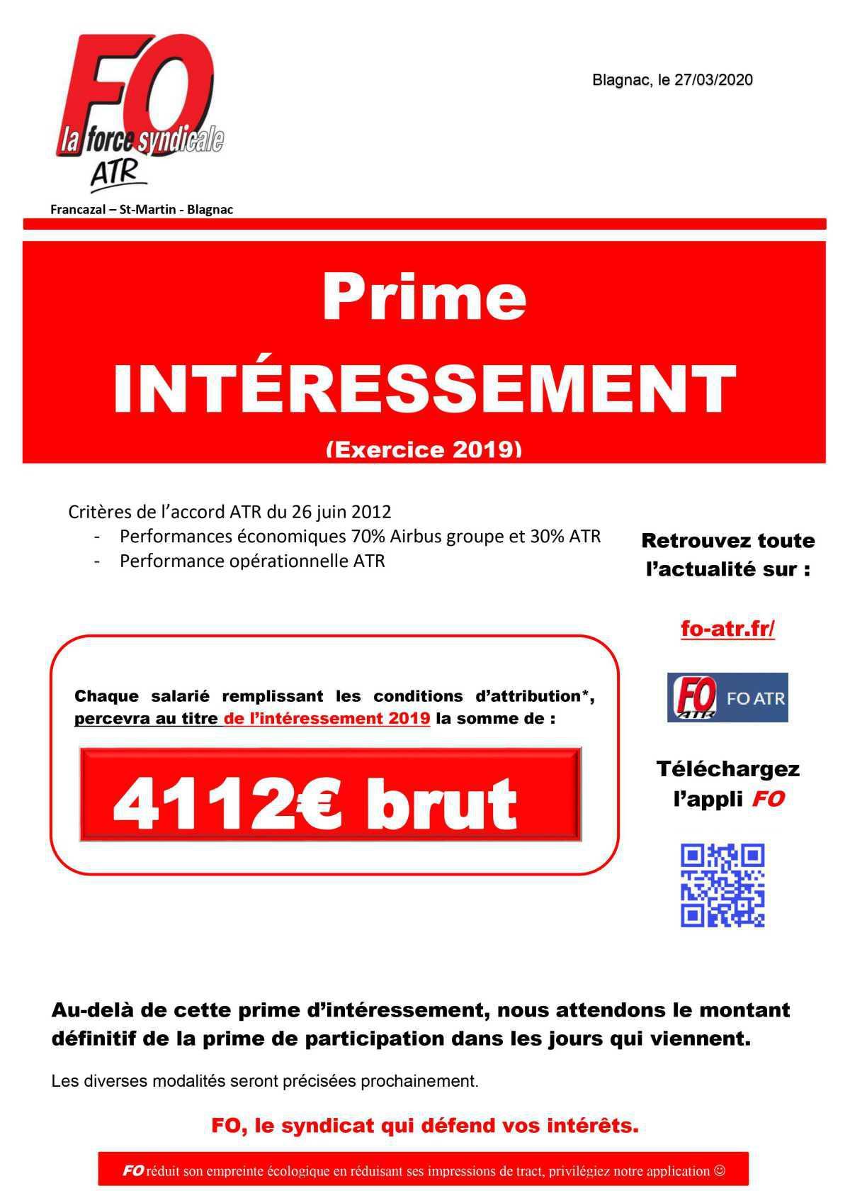 Intéressement 2020 (exercice 2019)