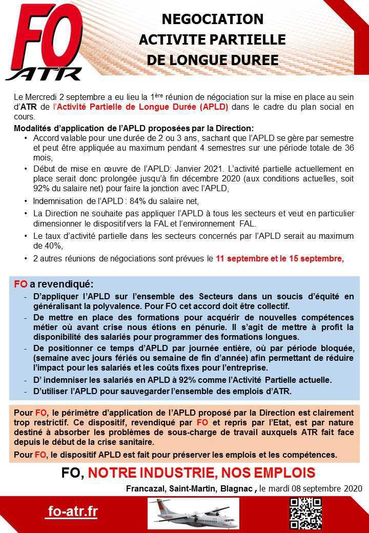 APLD ATR: 1ère réunion de négociation