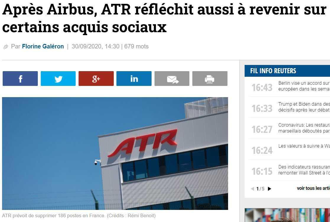 Presse : ATR réfléchit à revenir sur les acquis sociaux.