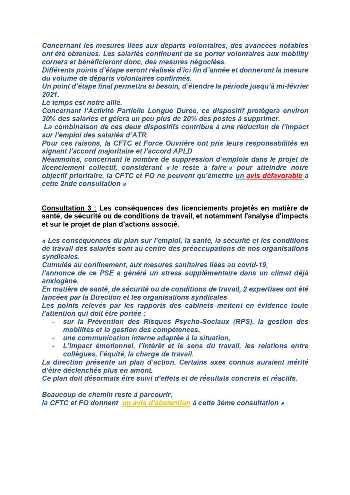 Consultation CSE du 15 Octobre 2020: Déclaration FO et CFTC