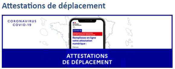 NOUVELLES ATTESTATIONS DE DEPLACEMENTS