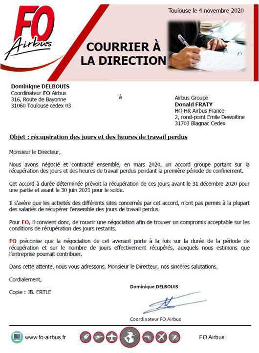 Courrier à la direction du groupe.