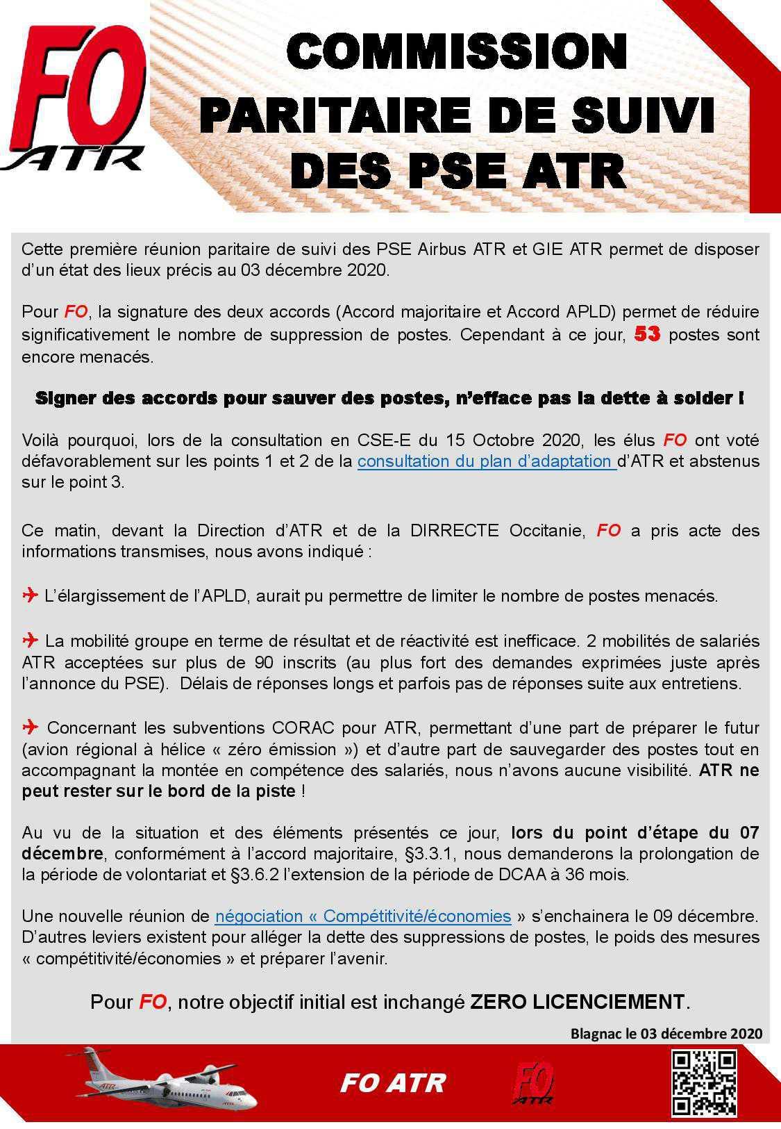 Commission paritaire de suivi des PSE ATR
