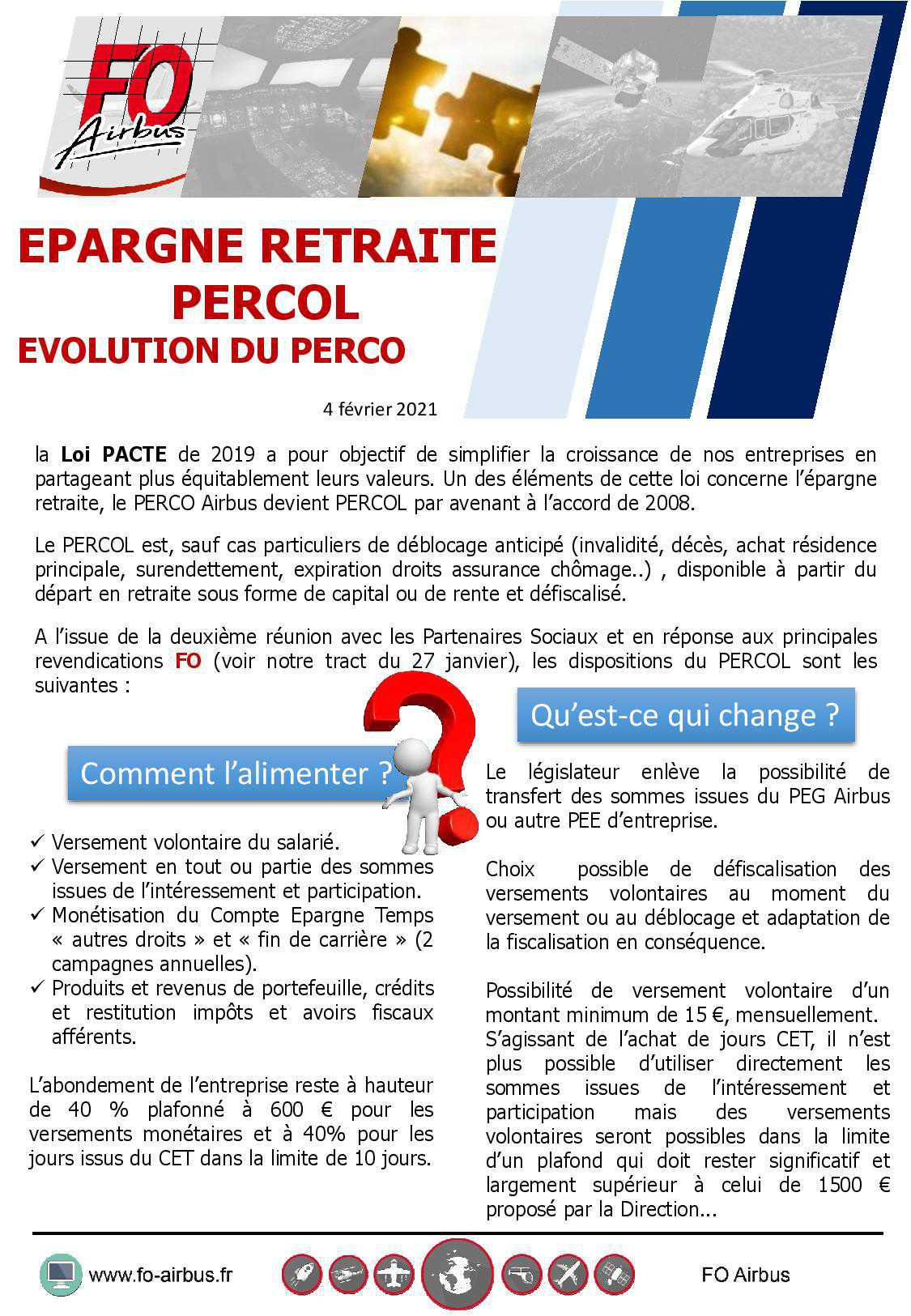 Epargne Retraite PERCOL, Evolution du PERCO