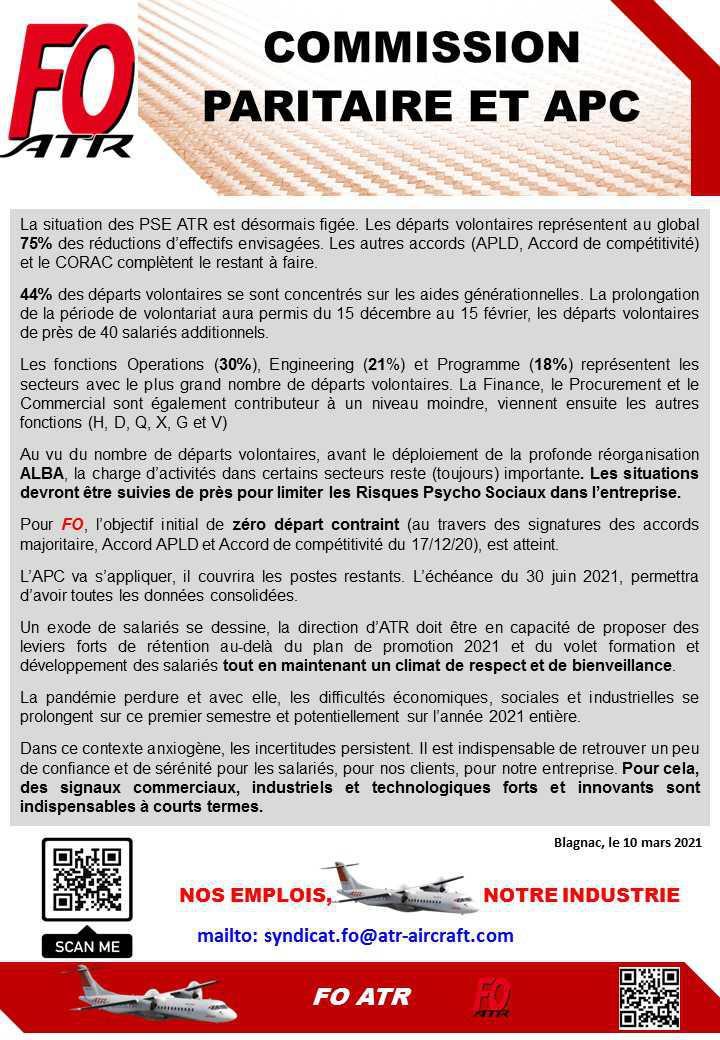 Bilan des PSE ATR (Commission de suivi paritaire et APC)