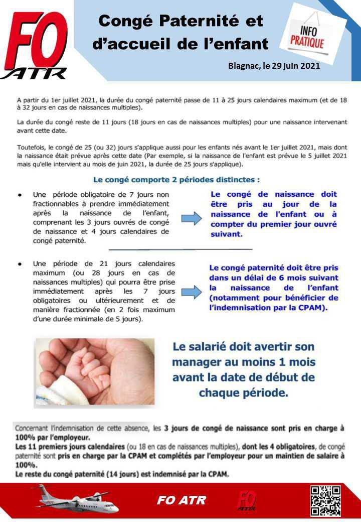 Info pratique : Congé paternité et d'accueil d'enfant