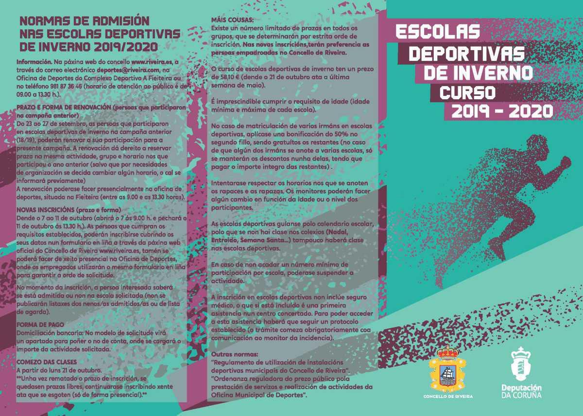 AS 14 ESCOLAS DEPORTIVAS MUNICIPAIS DE INVERNO DO CONCELLO RIVEIRA INICIARÁN O 21 DE OUTUBRO UNHA NOVA ANDADURA