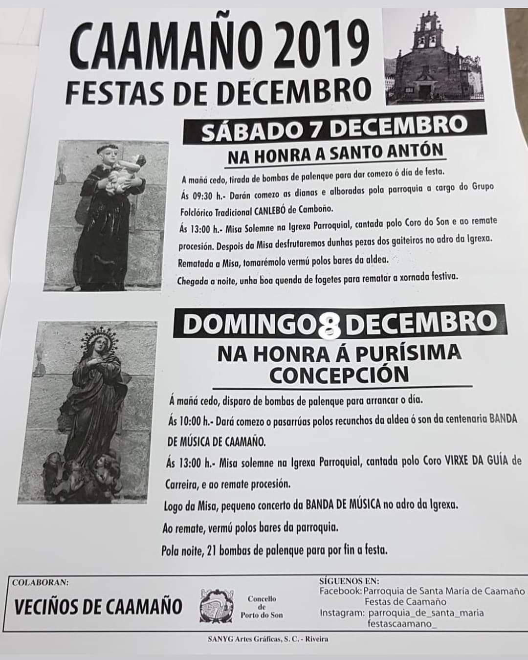 Juan Pouso (Carreira Sin-Son; cartel Nadal), José Martínez (festa en Caamaño)
