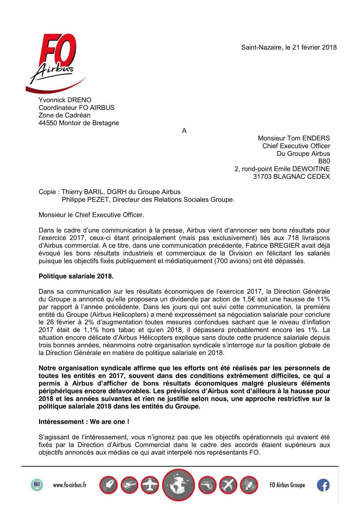 Salaires et Intéressement 2018 - Lettre à T. Enders