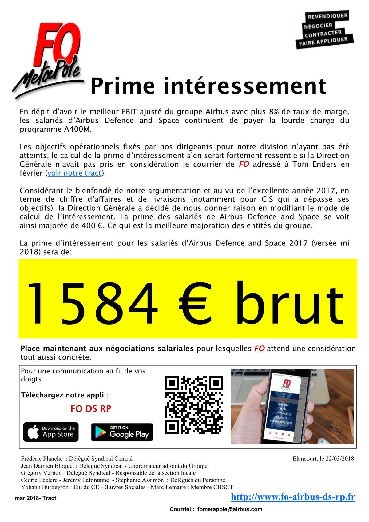 Prime d'intéressement FO vous obtient +417€