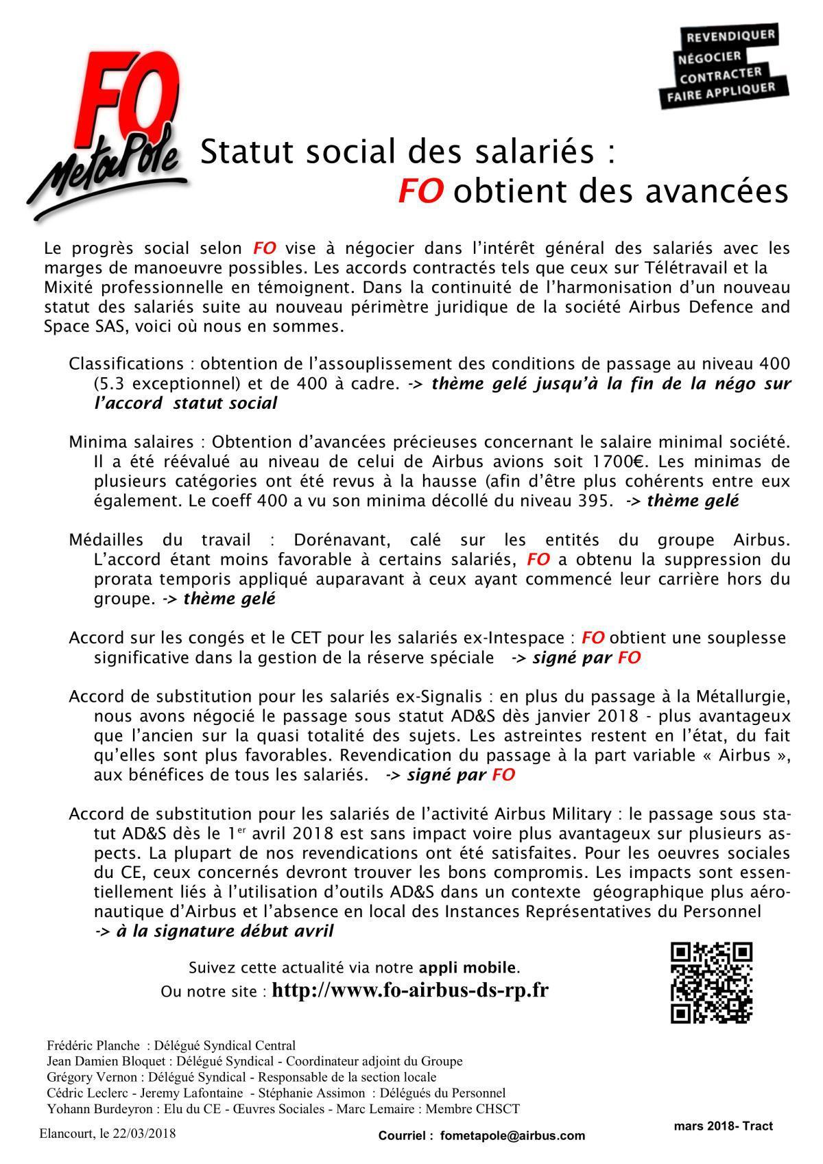 Statut Social des salariés : FO obtient des avancées