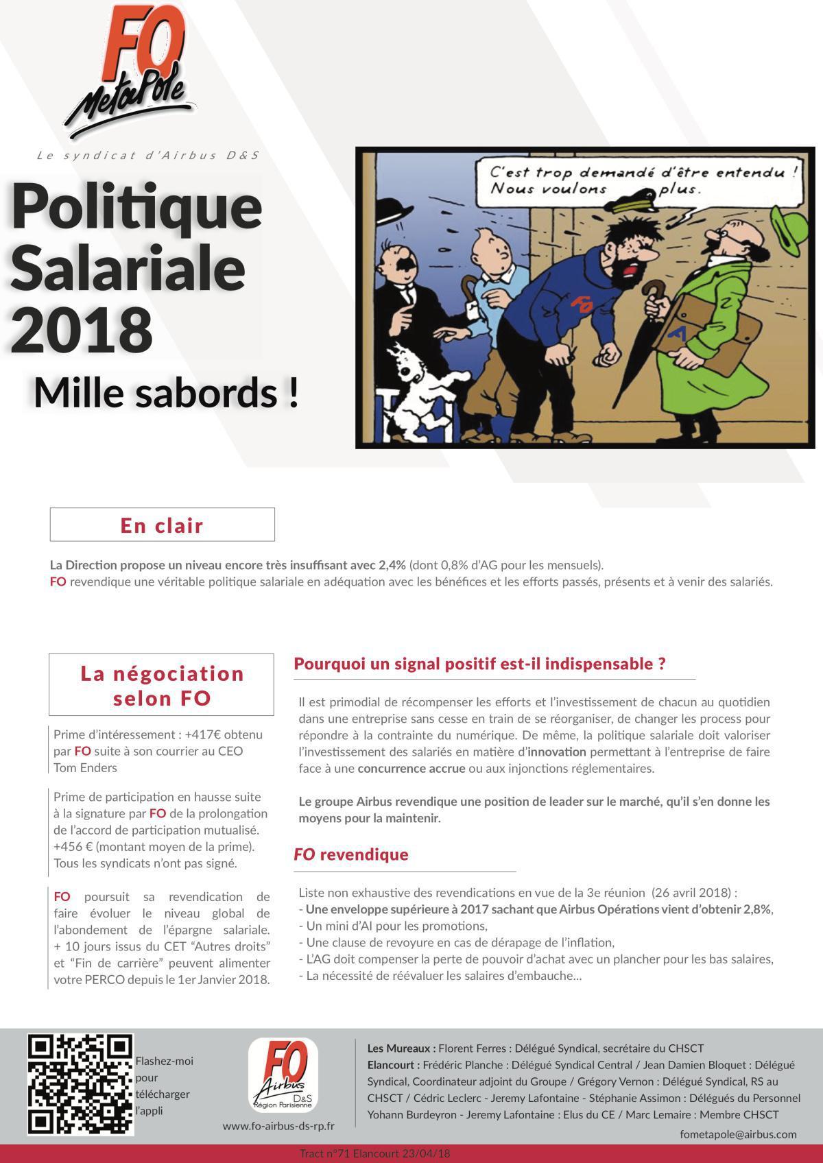 Politique Salariale 2018 : Mille sabords !