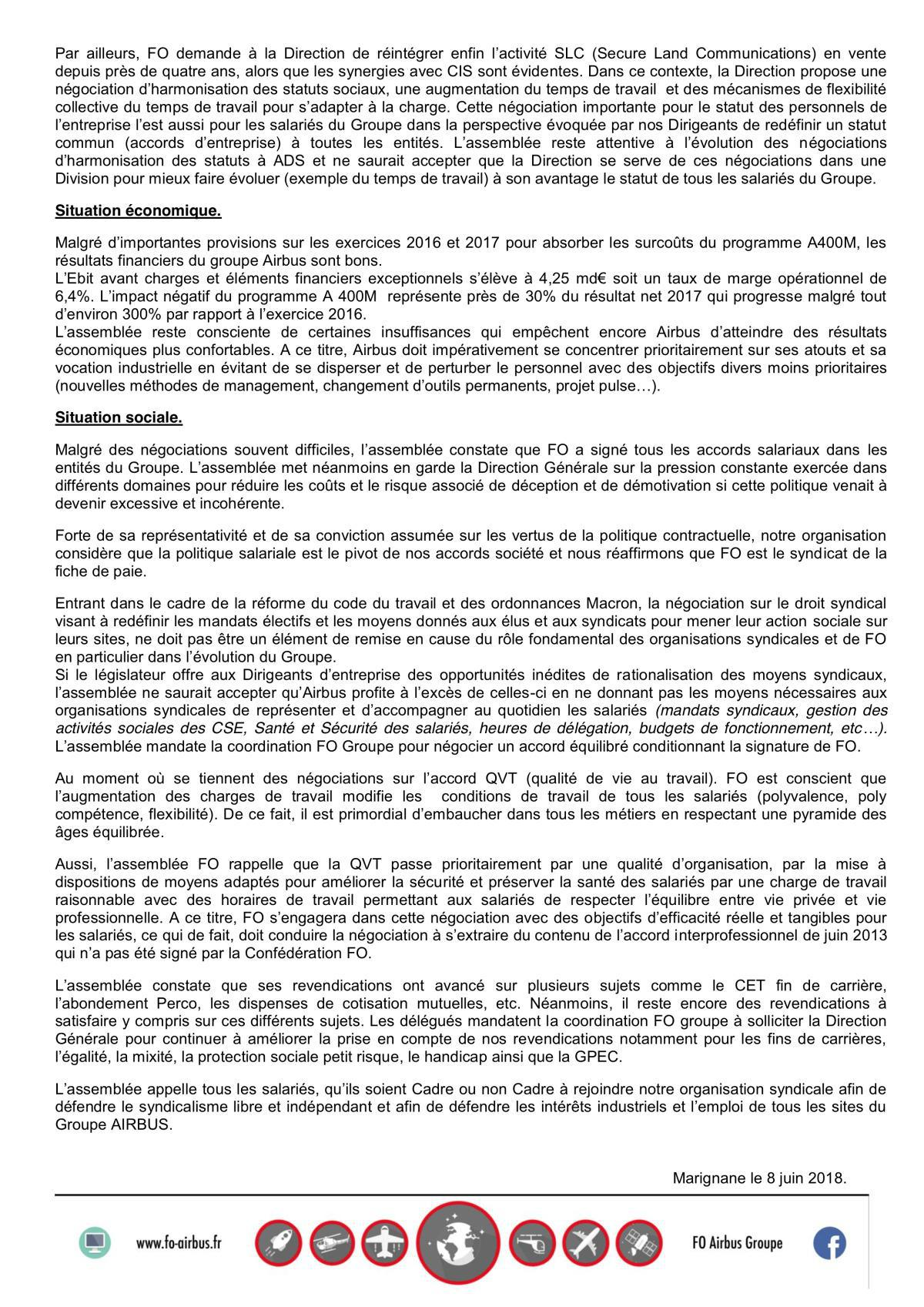 FO Airbus - Motion de l'AG 2018