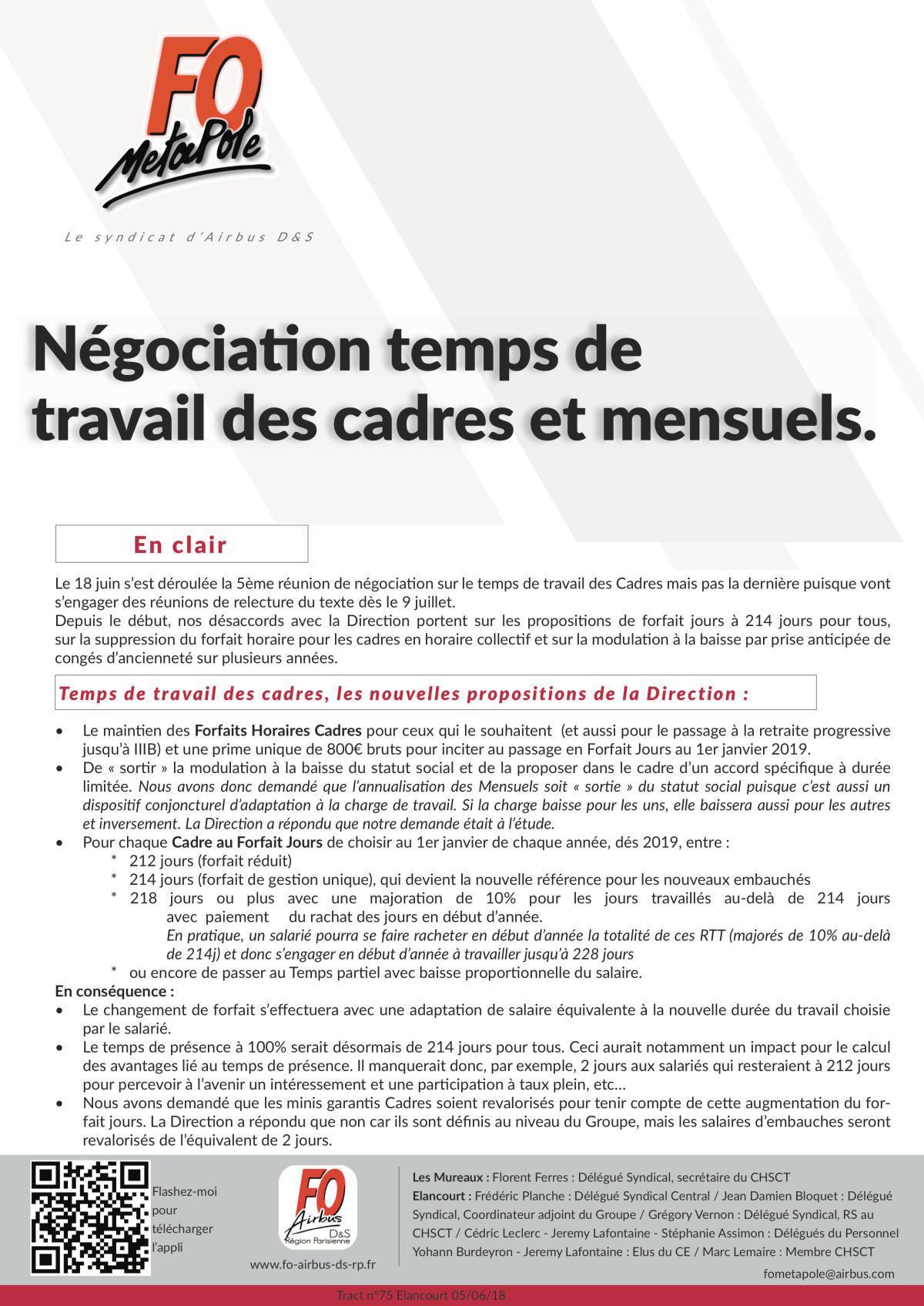 Négociation : Temps de travail des cadres et des mensuels