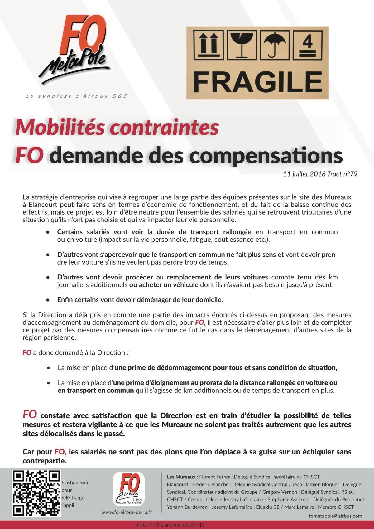 Mobilités contraintes : FO demande des compensations