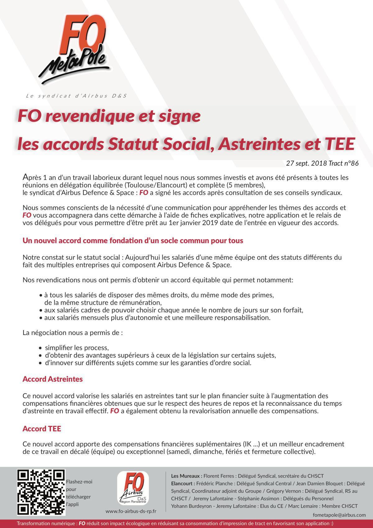 Statut social, pourquoi FO signe ?