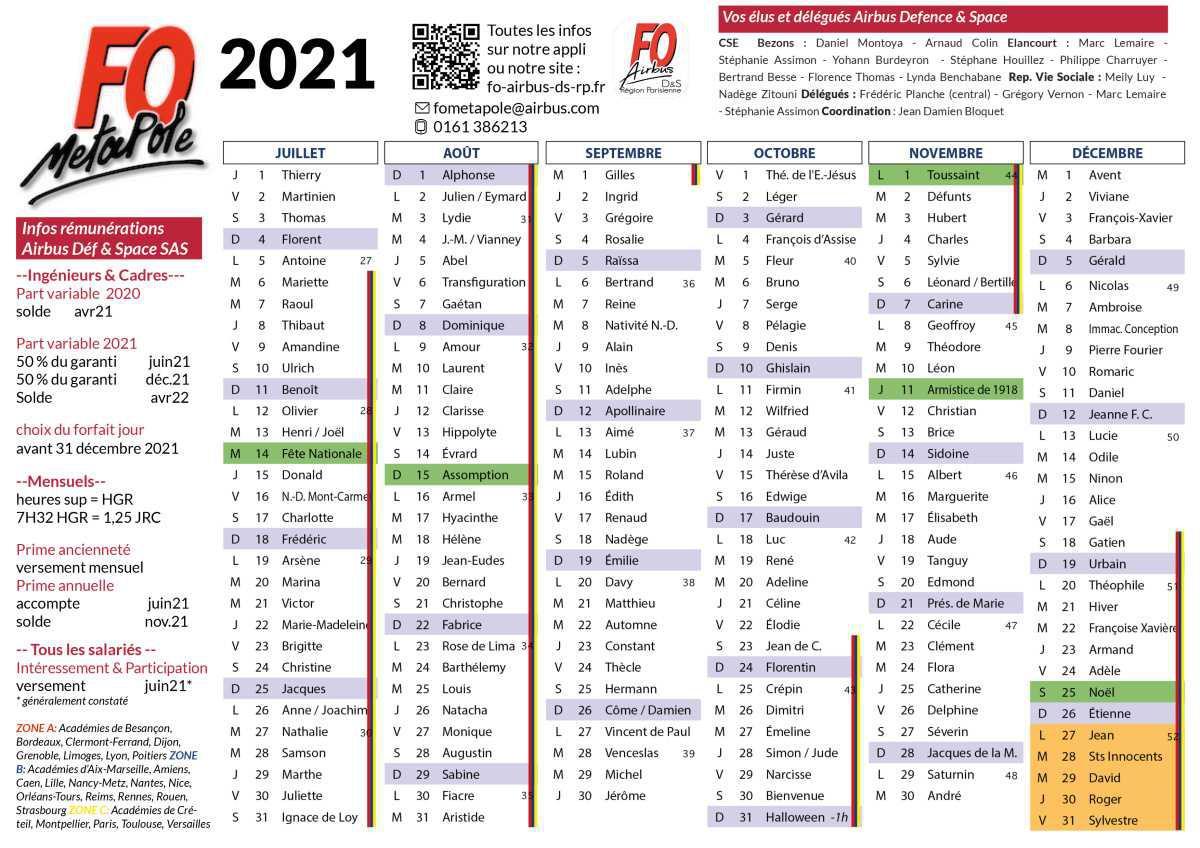Calendrier 2021 et temps de travail