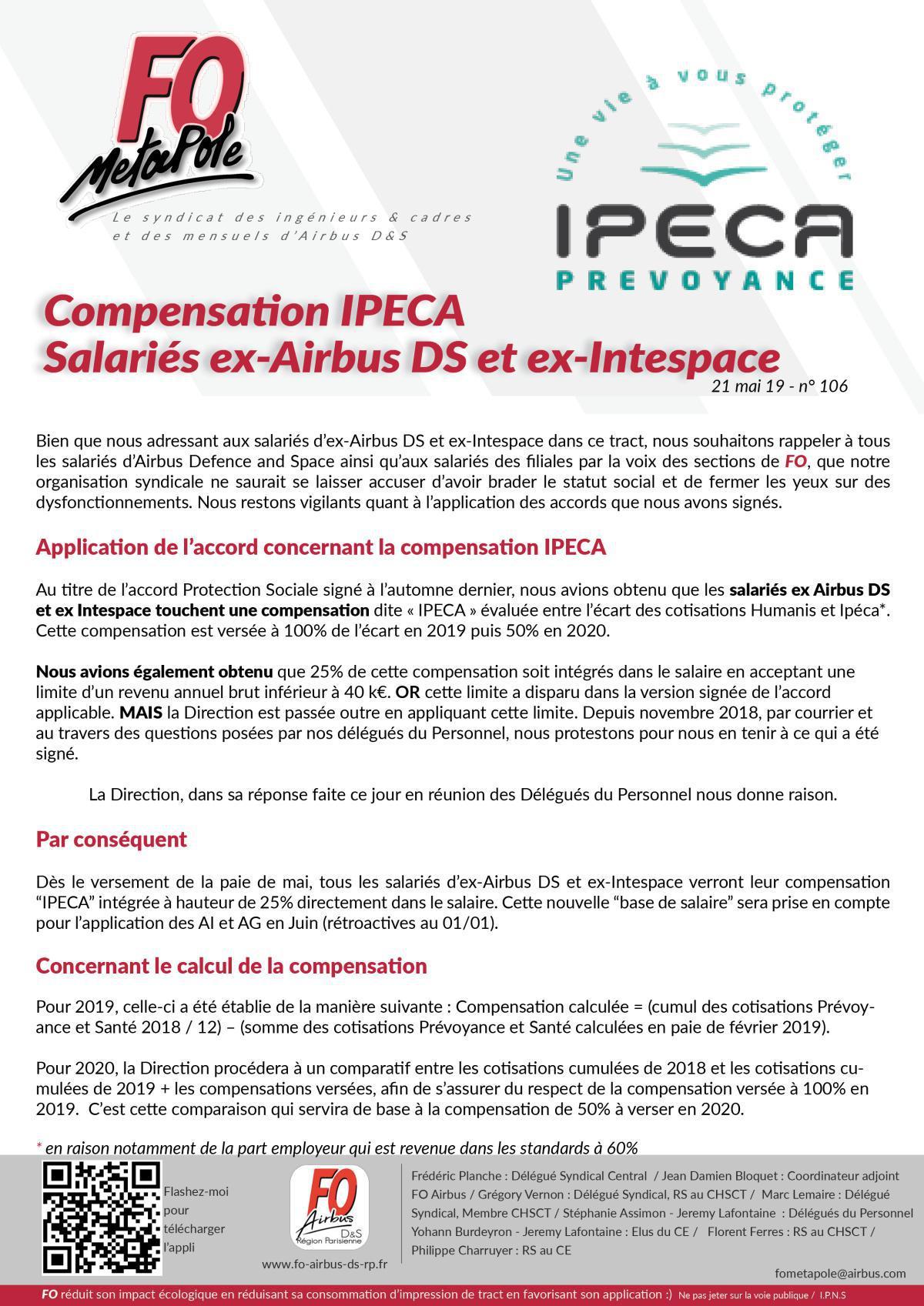 Compensation IPECA du nouveau pour les salariés ex Airbus DS