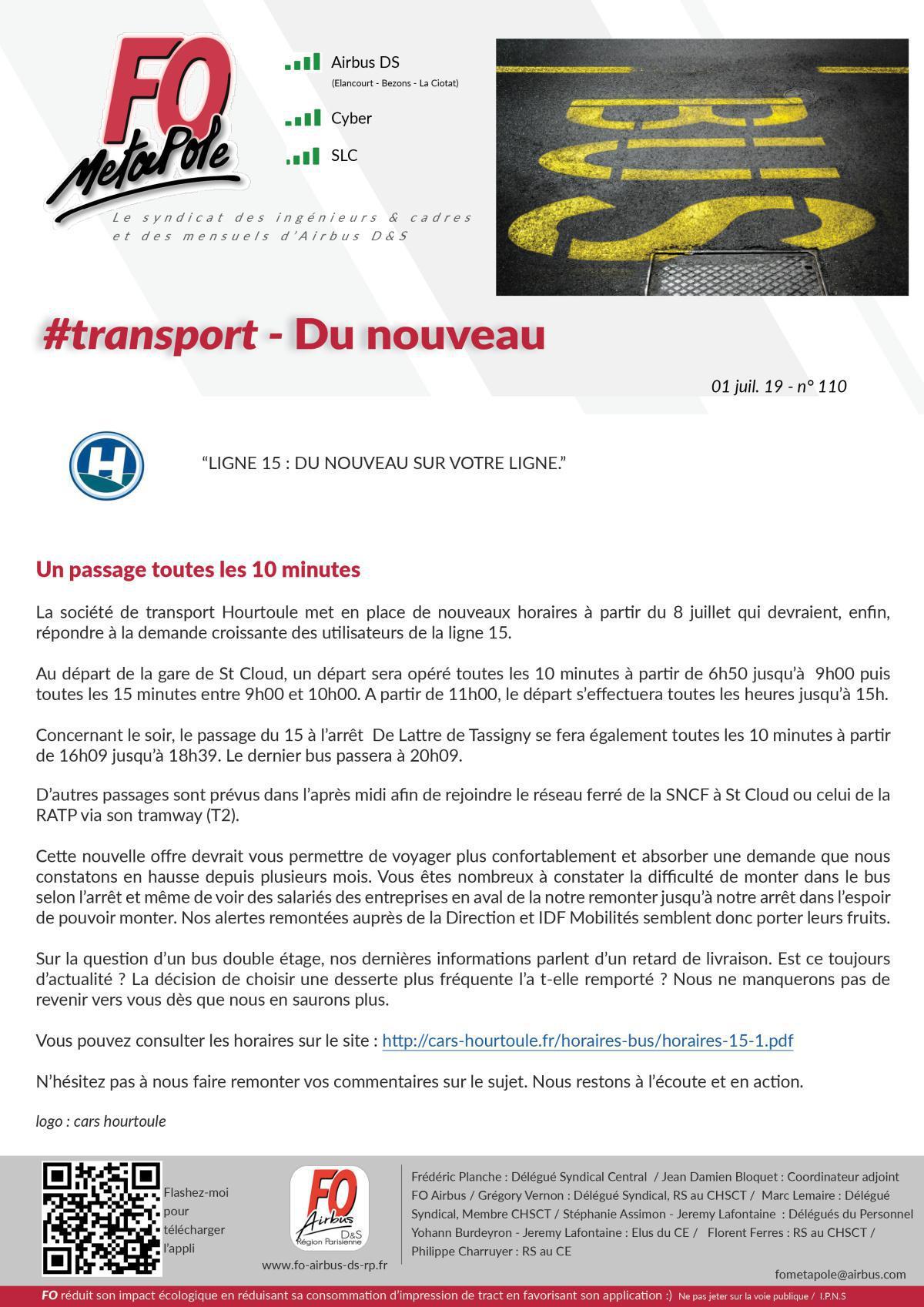 #transport Ligne 15 - bonnes nouvelles