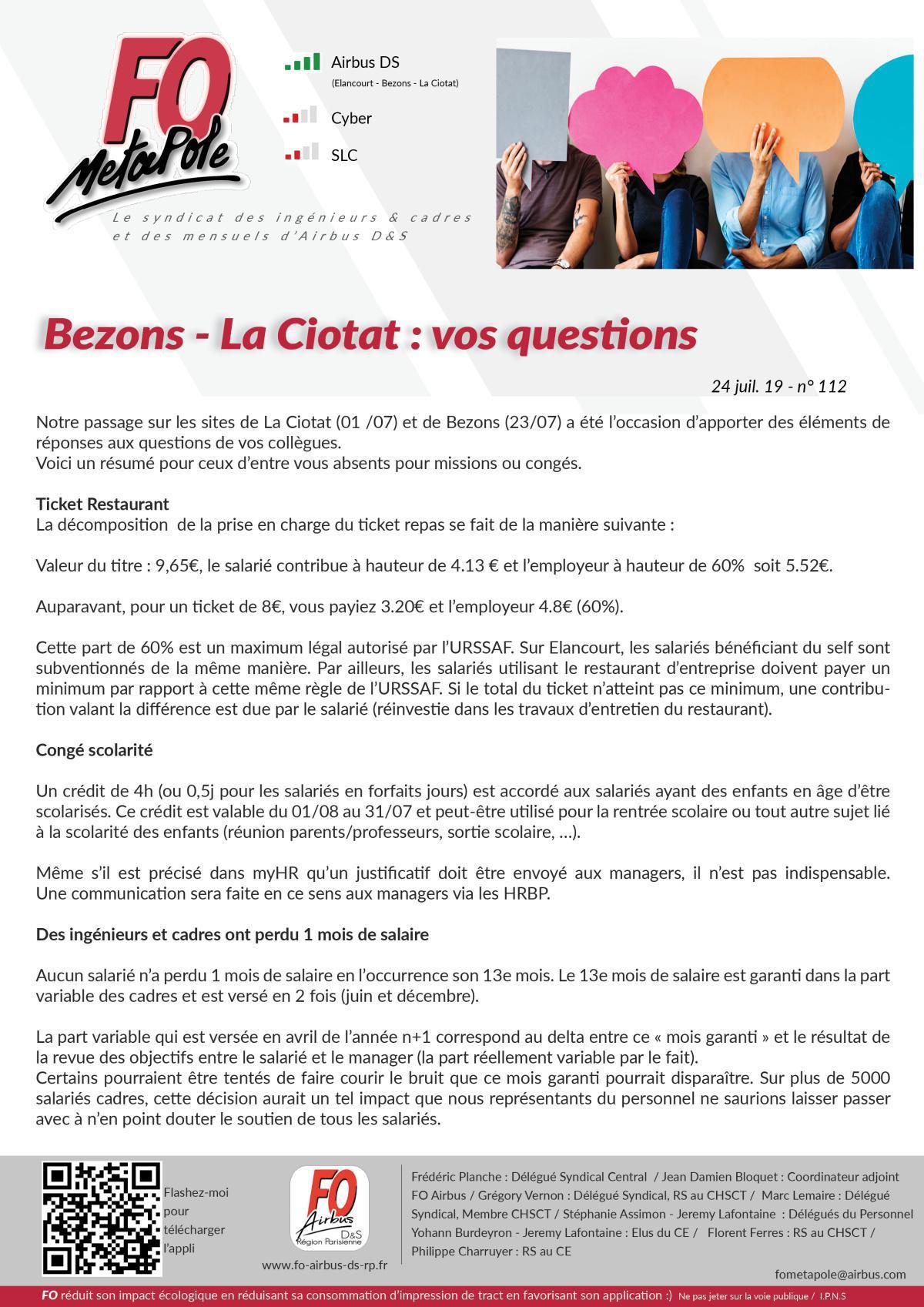 Bezons - La Ciotat : vos questions / nos réponses