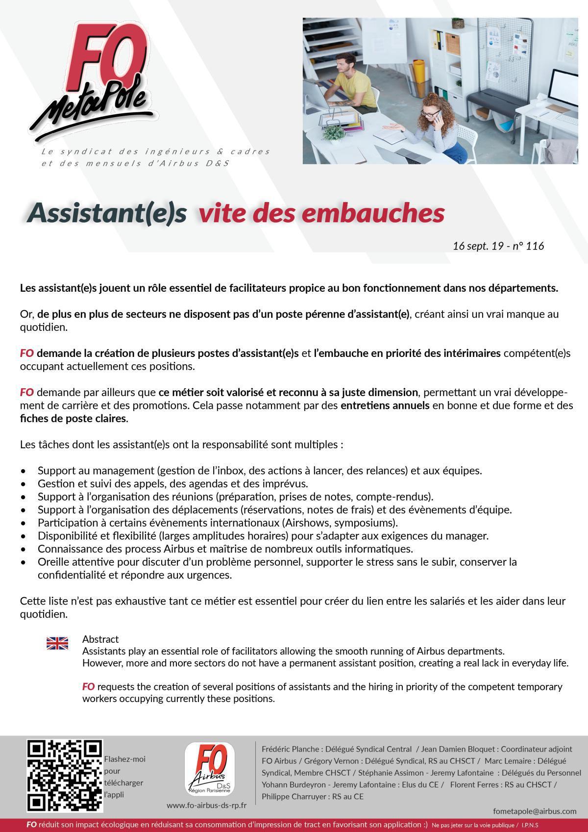 Assistant(e)s : vite des embauches
