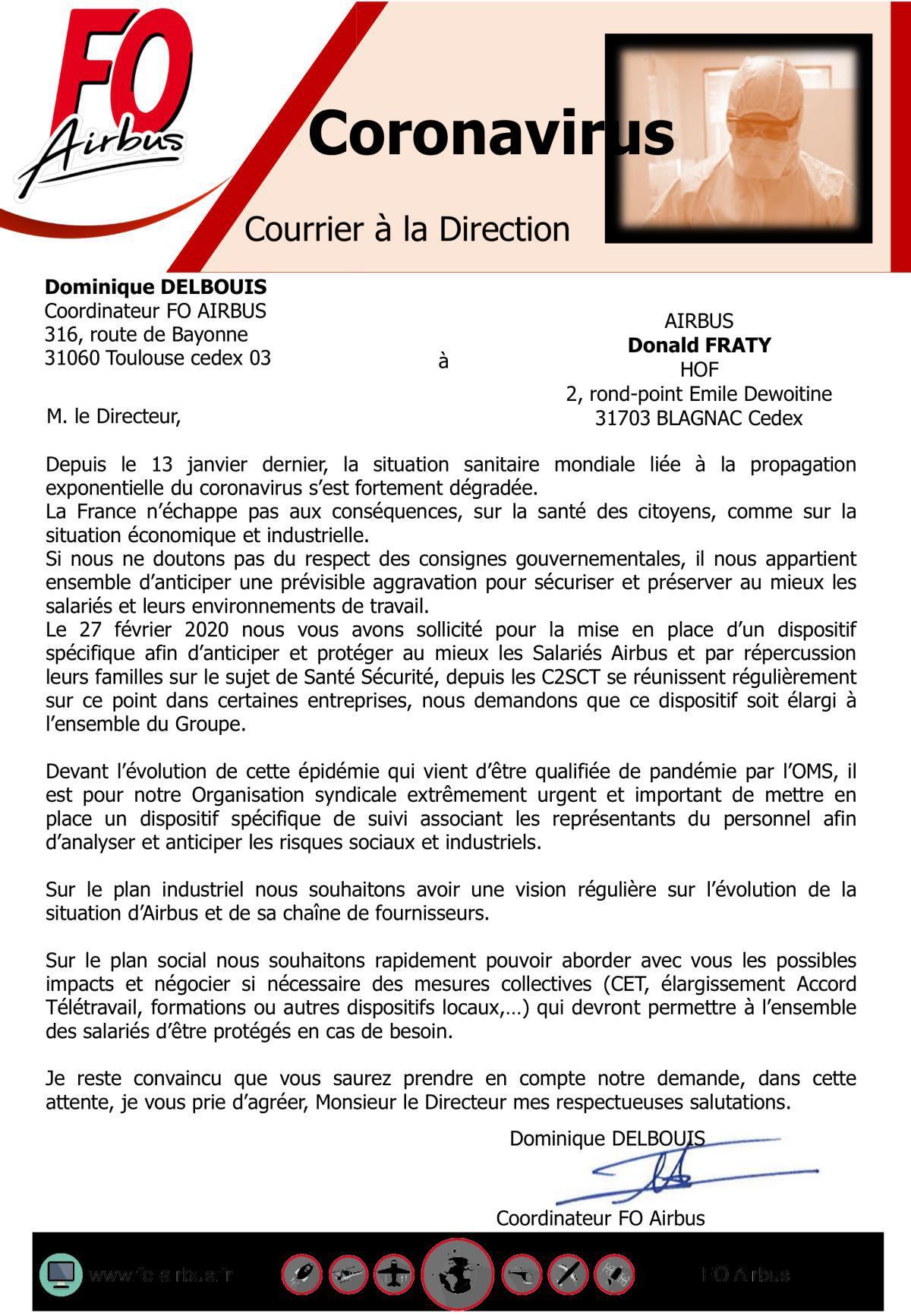 COVID-19 - Courrier à la Direction