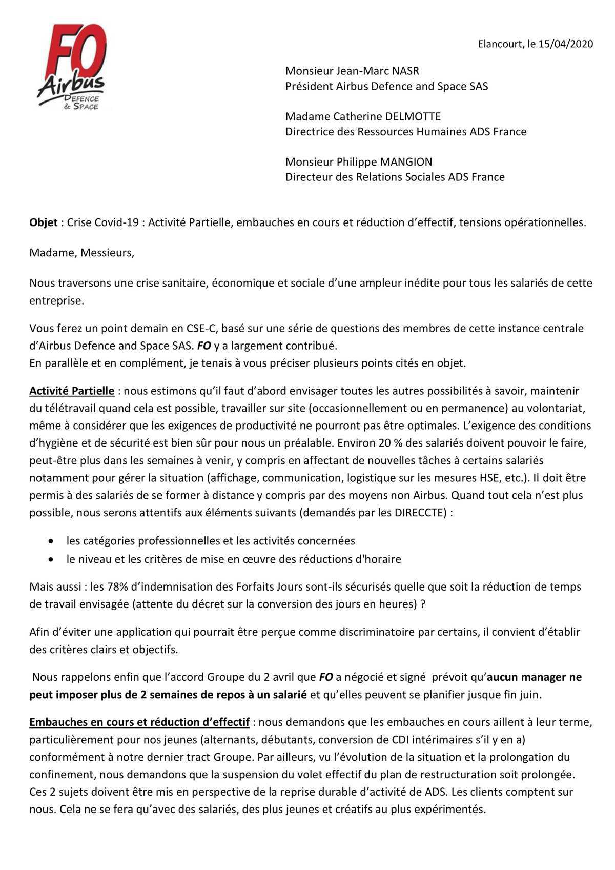Courrier à la Direction d'Airbus DS France