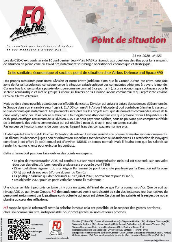 Point de situation Airbus DS