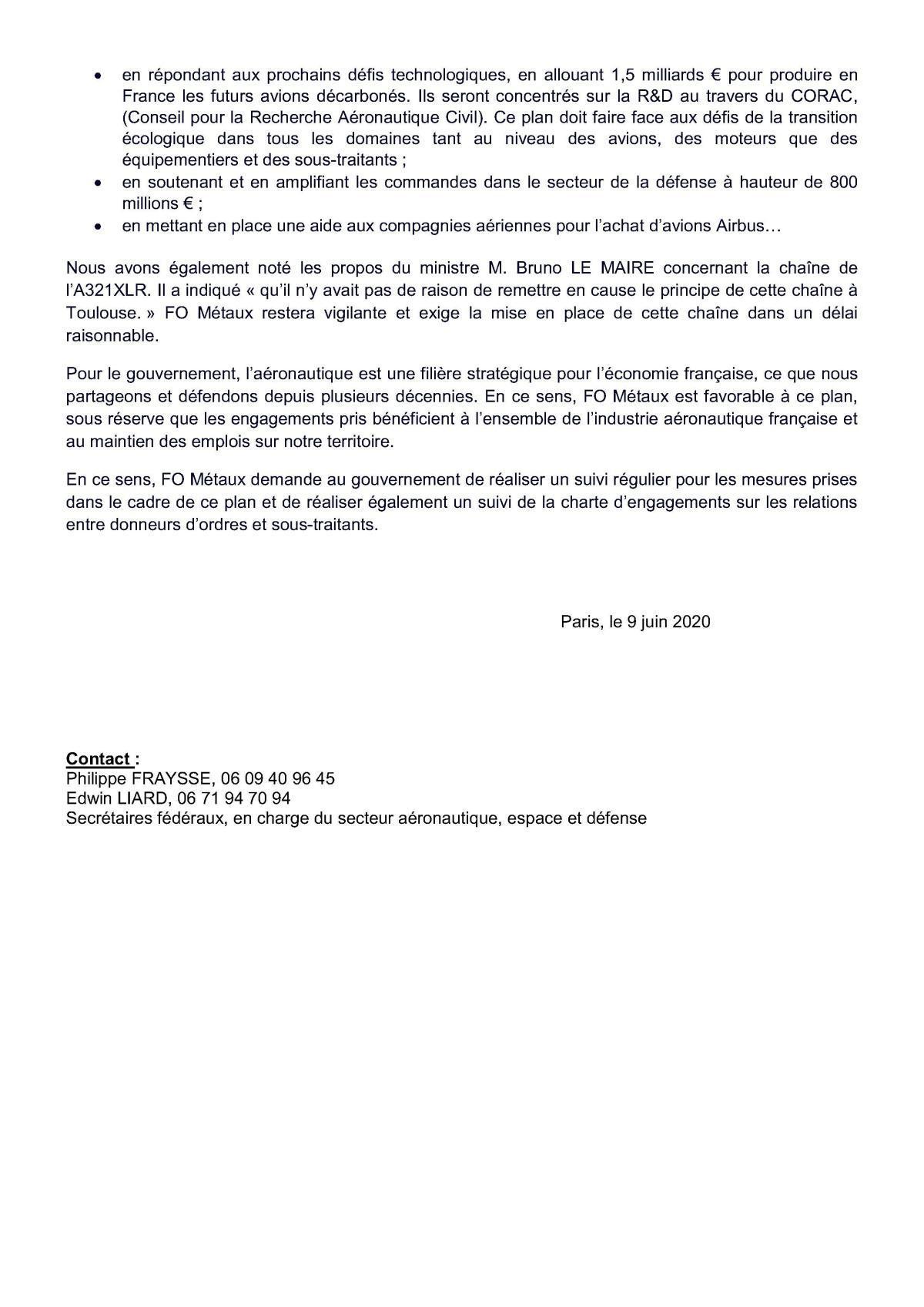 FO METAUX favorable sur la partie industrielle du plan de soutien à l'aéronautique