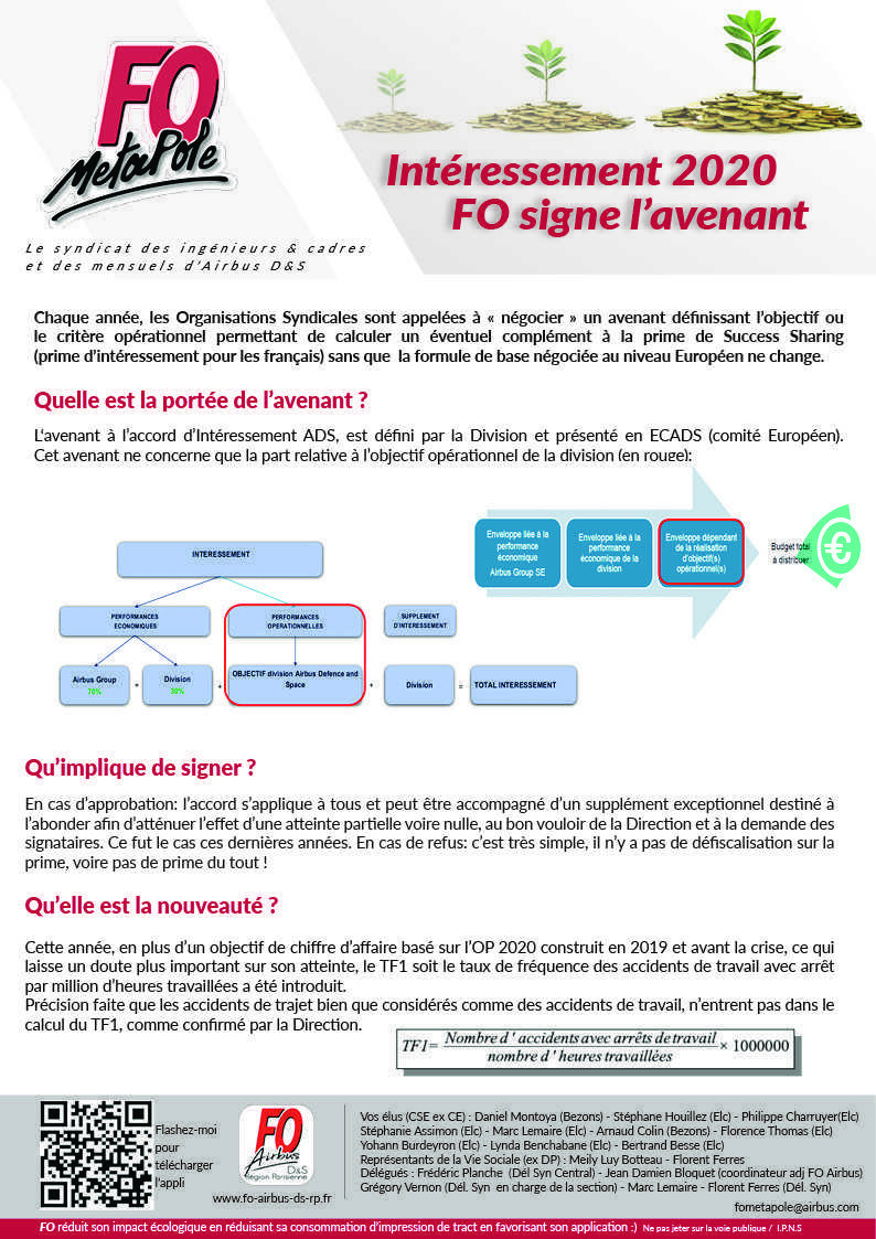 Intéressement 2020 - FO signe l'avenant