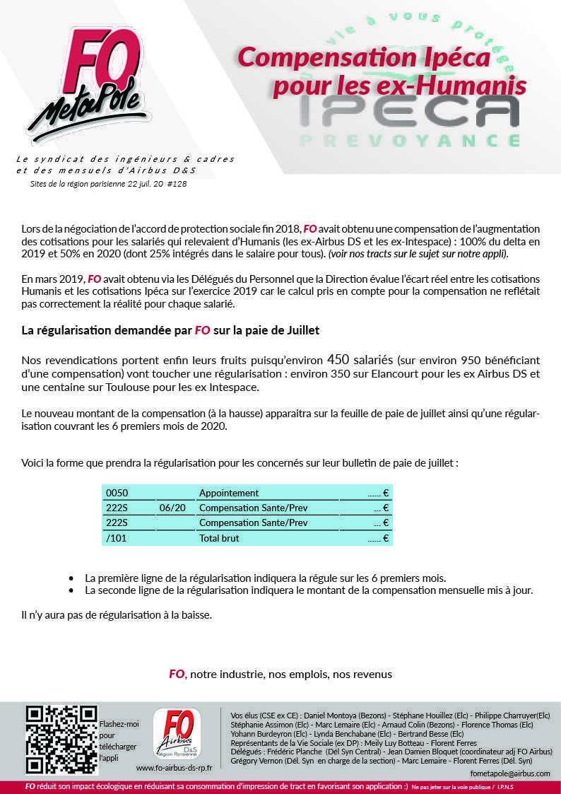 Ipeca : la régularisation demandée par FO sur la paie de juillet