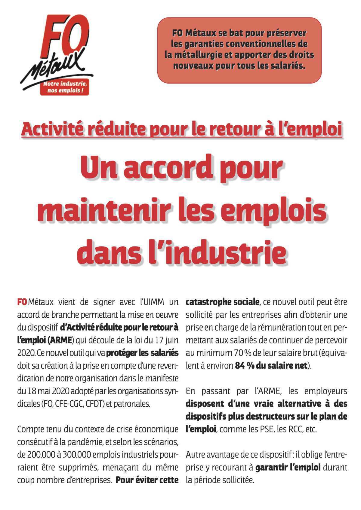 ARME pour maintenir les emplois dans l'industrie