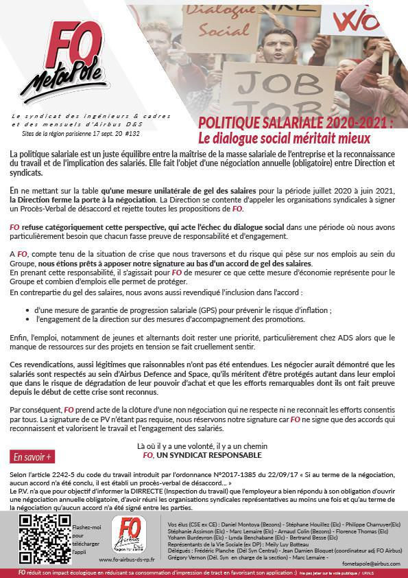 Politique salariale 20-21 : Le dialogue social méritait mieux