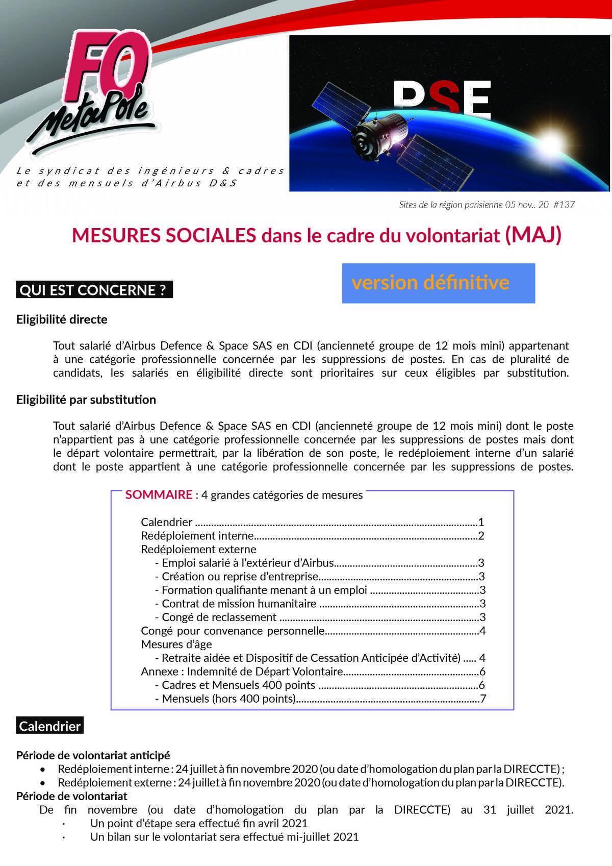 PSE ADS : Version définitive des mesures sociales en cas de volontariat