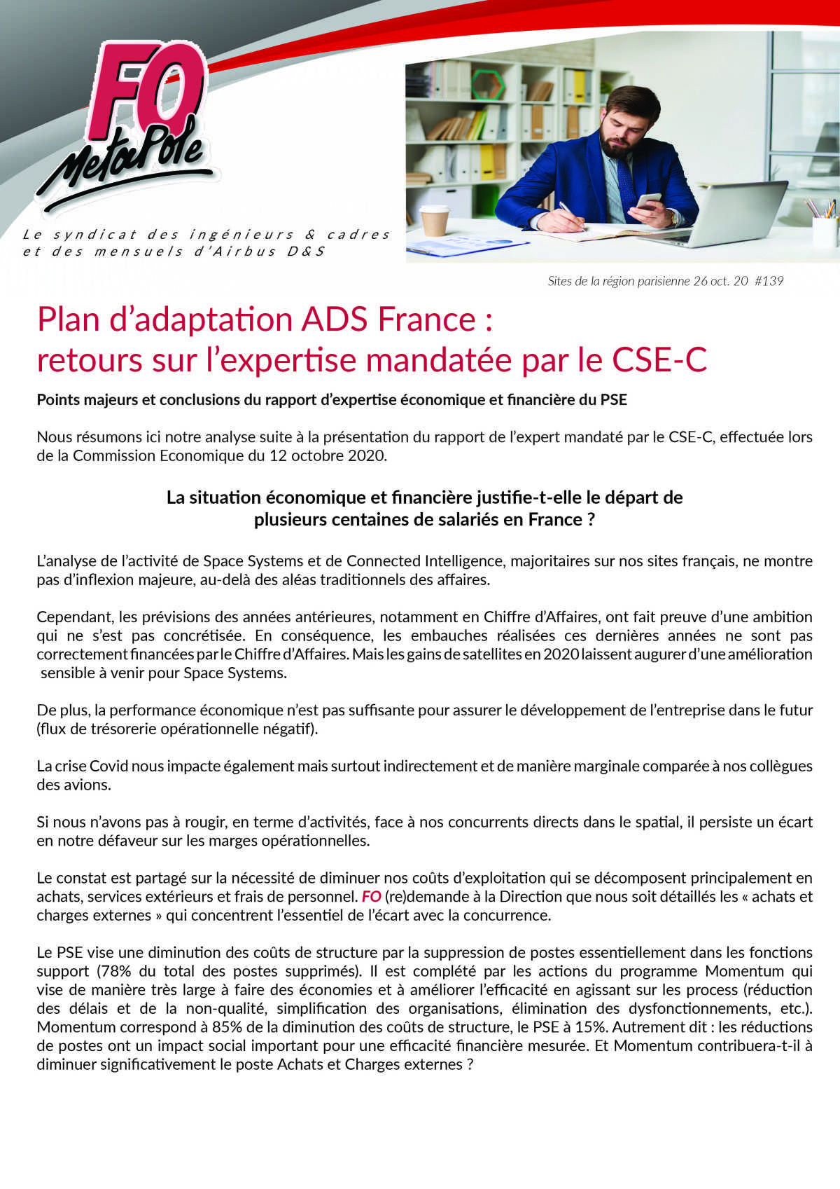 Plan d'adaptation ADS France : retours sur l'expertise mandatée par le CSE-C