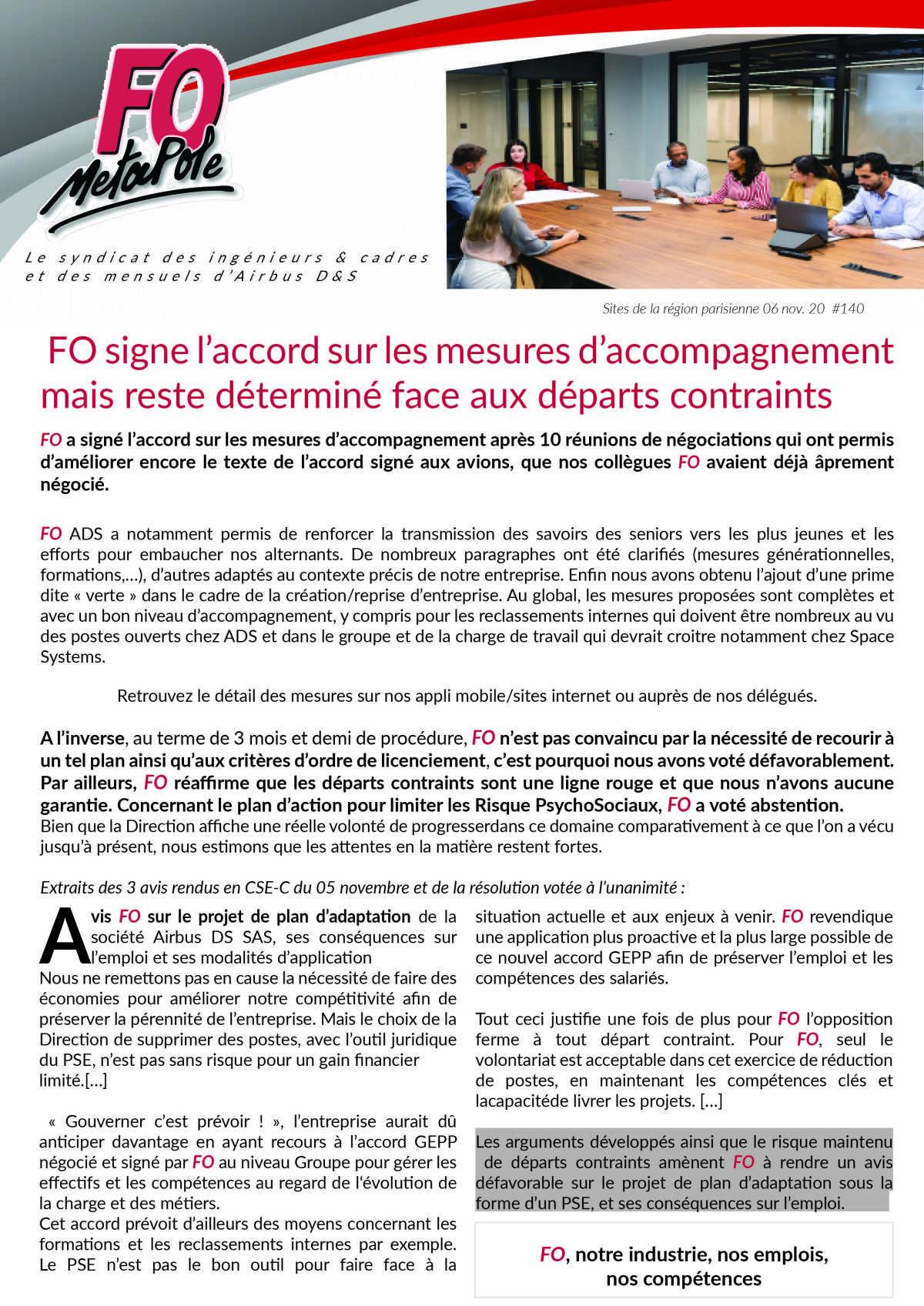 FO signe l'accord sur les mesures d'accompagnement mais reste déterminé face aux départs contraints