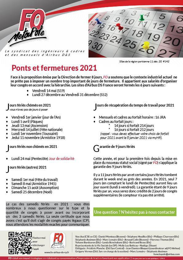 Ponts et fermetures en 2021