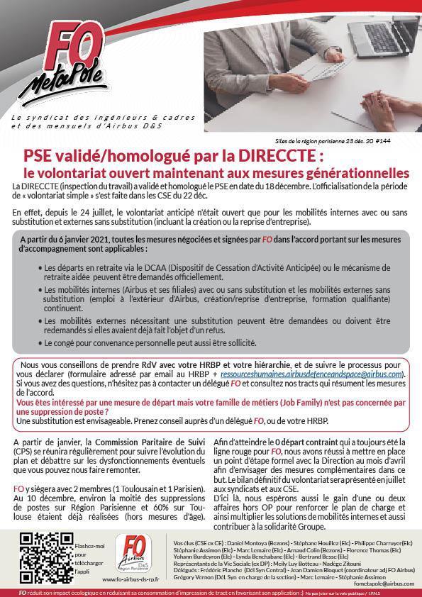PSE validé et homologué par la DIRECCTE : le volontariat ouvert