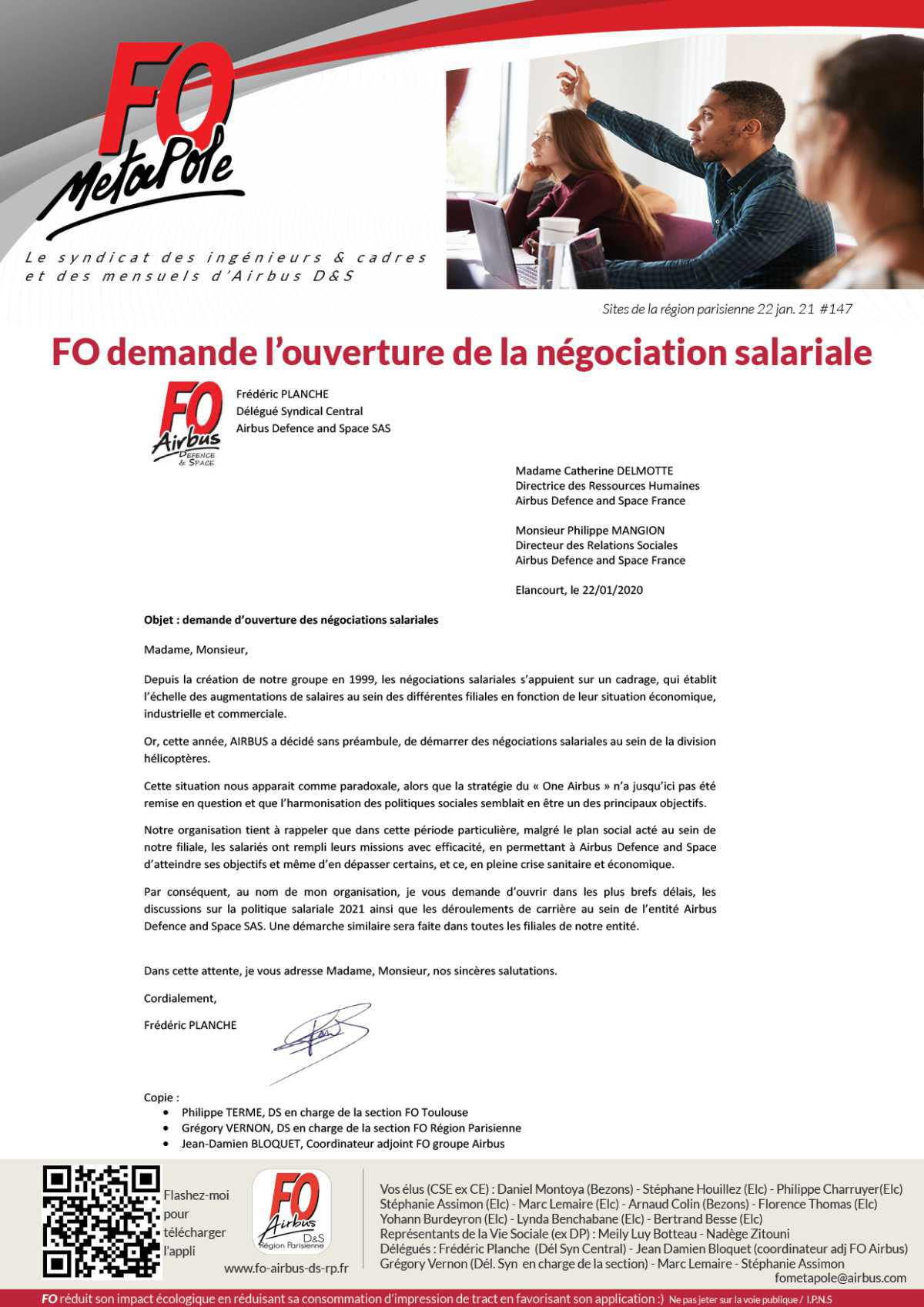 FO demande l'ouverture de la négociation salariale