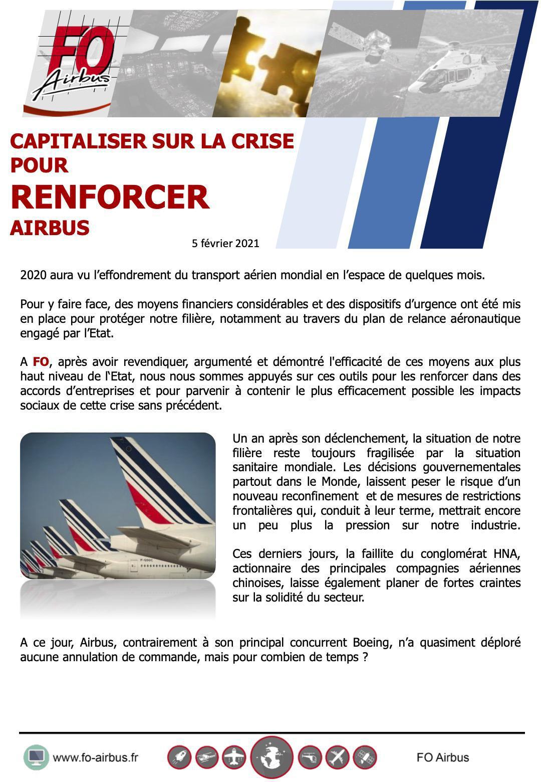 Capitaliser sur la crise pour renforcer Airbus